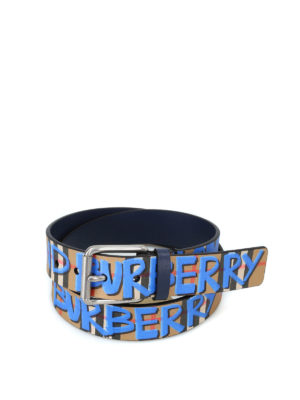 BURBERRY: cinture - Cintura in pelle con Vintage check e graffiti