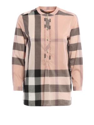 Burberry: blouses - Buttoned plastron cotton blouse