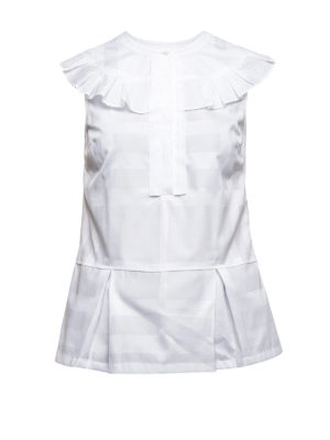Burberry: blouses - Ruched Check cotton blouse