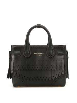 Burberry: bowling bags - Broguing Fringe small bowling bag