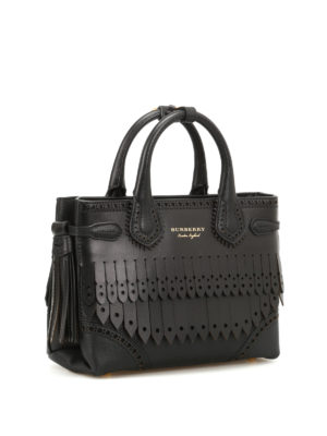 Burberry: bowling bags online - Broguing Fringe small bowling bag