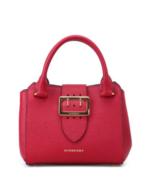 Burberry: bowling bags - Soft grain small buckle tote