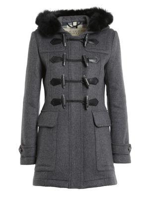 Burberry Brit: knee length coats - Fur trim duffle coat