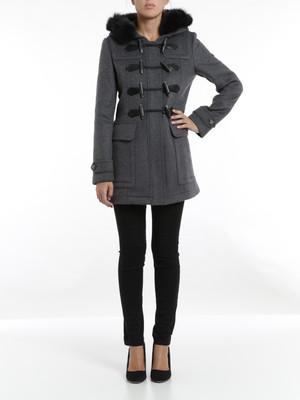 Burberry Brit: knee length coats online - Fur trim duffle coat