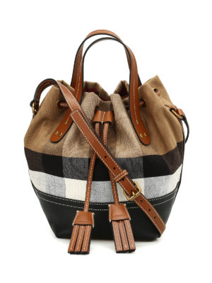 Burberry: Bucket bags - Heston canvas Check small bag