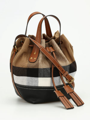 Burberry: Bucket bags online - Heston canvas Check small bag