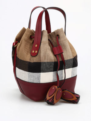 Burberry: Bucket bags online - Small Heston canvas Check bag