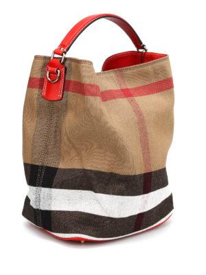 Burberry: Bucket bags online - Susanna canvas check hobo bag