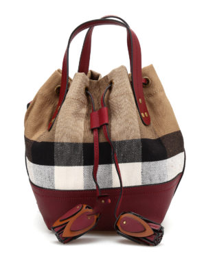 Burberry: Bucket bags - Small Heston canvas Check bag