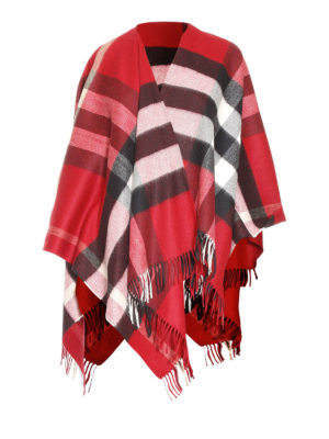 Burberry: Capes &  Ponchos - Check cashmere and merino poncho