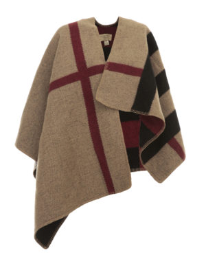 Burberry: Capes &  Ponchos - House Check cashmere blend cape
