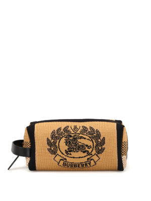 BURBERRY: Cases & Covers - Archive crest intarsia knit wash bag