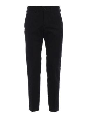 BURBERRY: pantaloni casual - Pantaloni chino in cotone tecnico nero