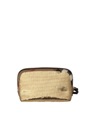 Burberry: clutches - Sequined House Check large clutch