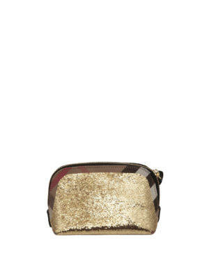 Burberry: clutches - Sequined House Check medium clutch