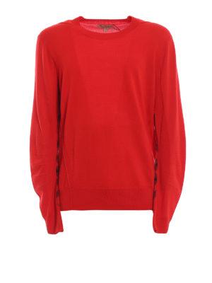 BURBERRY: maglia collo rotondo - Pull Carter in lana rosso vivo