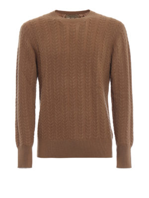 BURBERRY: crew necks - Cable knit cashmere blend camel jumper