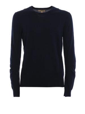 BURBERRY: maglia collo rotondo - Pull Carter in lana blu navy