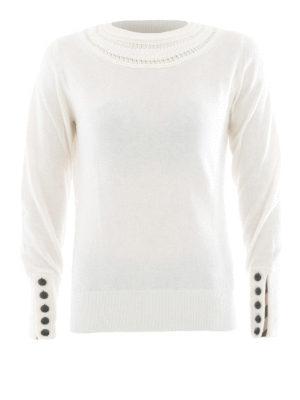 Burberry: crew necks - Cashmere cable knit yoke sweater