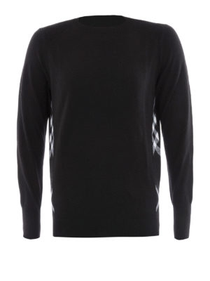 Burberry: crew necks - Check side detail wool sweater