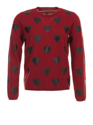 Burberry: crew necks - Heart printed wool sweater