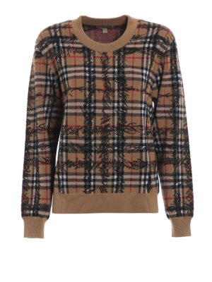 Burberry: crew necks - Kern tartan merino wool sweater