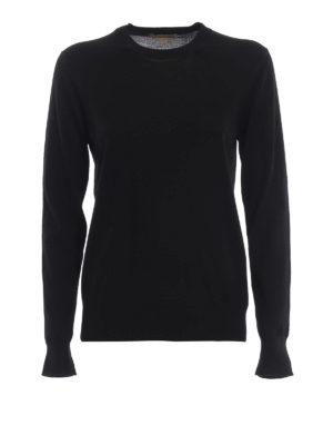 BURBERRY: maglia collo rotondo - Pull girocollo in leggera lana merino nera
