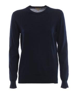 BURBERRY: maglia collo rotondo - Pull girocollo in leggera lana merino navy