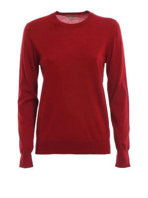 BURBERRY: maglia collo rotondo - Pull girocollo in leggera lana merino rossa