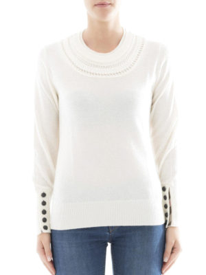 Burberry: crew necks online - Cashmere cable knit yoke sweater