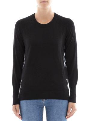 Burberry: crew necks online - Check side detail wool sweater