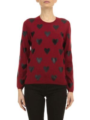 Burberry: crew necks online - Heart printed wool sweater