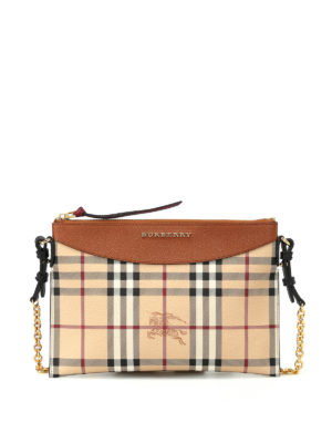 Burberry: cross body bags - Tartan Haymarket check print pouch