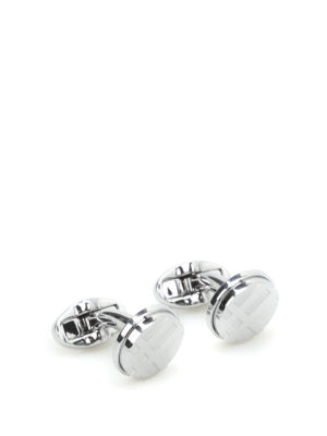 Burberry: Cufflinks - Check brass cufflinks