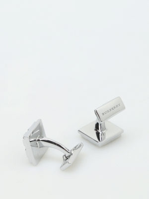 Burberry: Cufflinks online - Check brass cufflinks