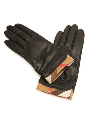 Burberry: gloves - Check trim leather gloves