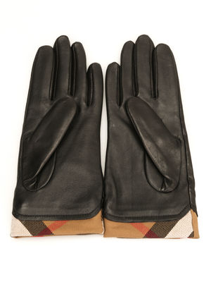 Burberry: gloves online - Check trim leather gloves