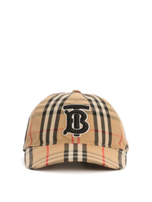 BURBERRY: hats & caps - Vintage Check monogram baseball cap
