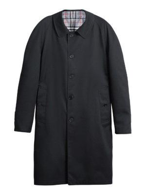 BURBERRY: cappotti al ginocchio - Cappotto reversibile nero e check