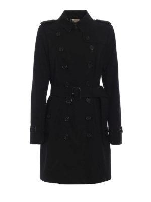 BURBERRY: cappotti al ginocchio - Impermeabile nero Heritage The Chelsea Mid