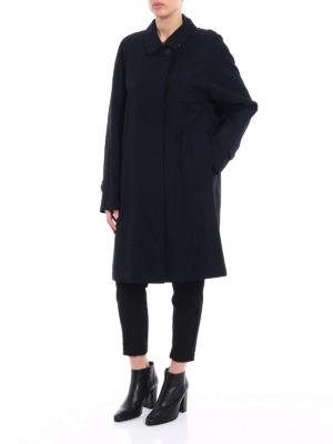 Burberry: knee length coats online - The Camden gabardine long blue coat