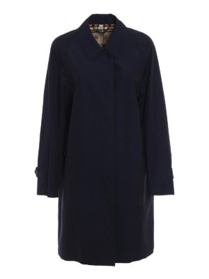 Burberry: knee length coats - The Camden gabardine long blue coat