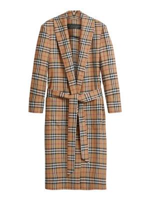 BURBERRY: cappotti al ginocchio - Cappotto a vestaglia in lana check