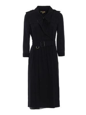 Burberry: knee length dresses - Agatha belted wrap silk dress