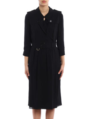 Burberry: knee length dresses online - Agatha belted wrap silk dress