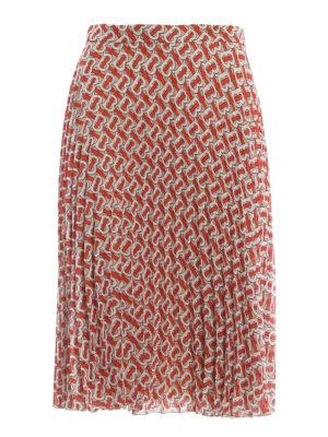 BURBERRY: Knee length skirts & Midi - Monogram print pleated skirt