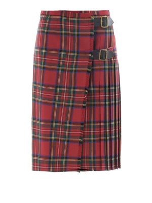 Burberry: Knee length skirts & Midi - Tartan wool midi kilt