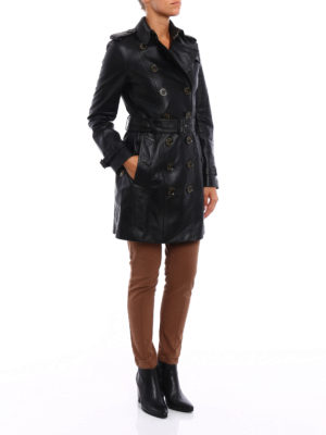 Burberry: leather coats online - Sandringham mid leather trench coat