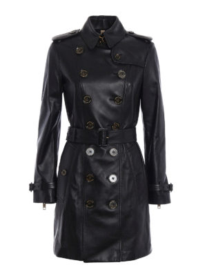 Burberry: leather coats - Sandringham mid leather trench coat