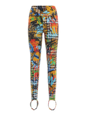 BURBERRY: leggings - Leggings Mania in jersey a quadri e graffiti